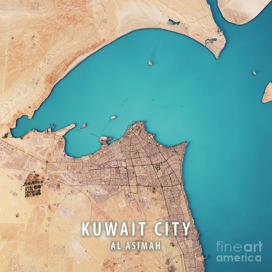 World Map Kuwait City. Kuwait City Digital Art  3d Render Satellite View Topographic Map by Frank Ramspott