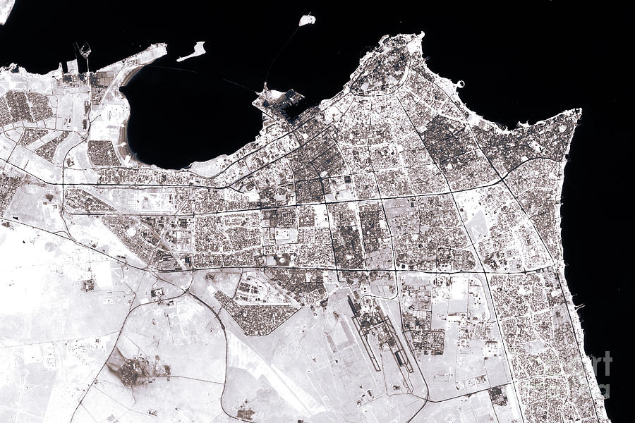 Kuwait City Abstract City Map Black And White
