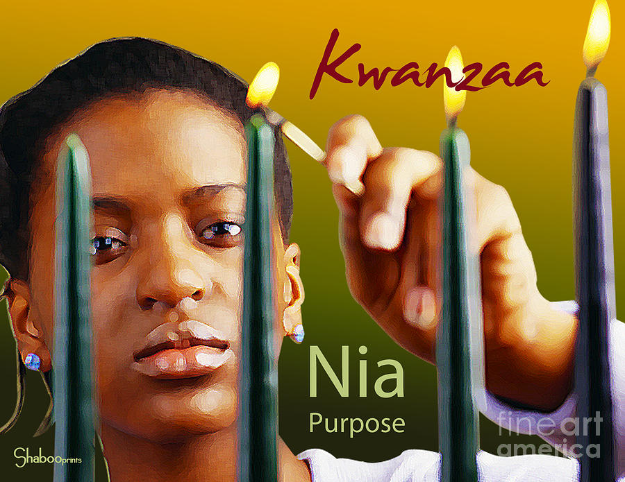 Kwanzaa Digital Art - Kwanzaa Nia by Shaboo Prints
