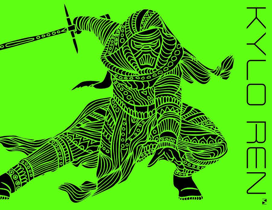Kylo Ren - Star Wars Art - Green Mixed Media