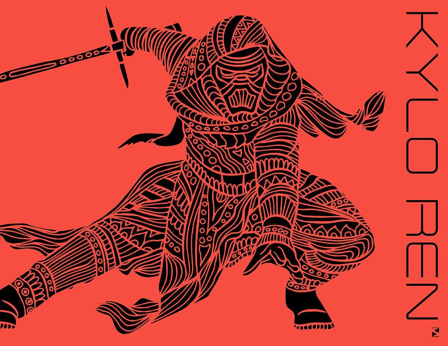Kylo Ren Mixed Media - Kylo Ren - Star Wars Art - Red by Studio Grafiikka