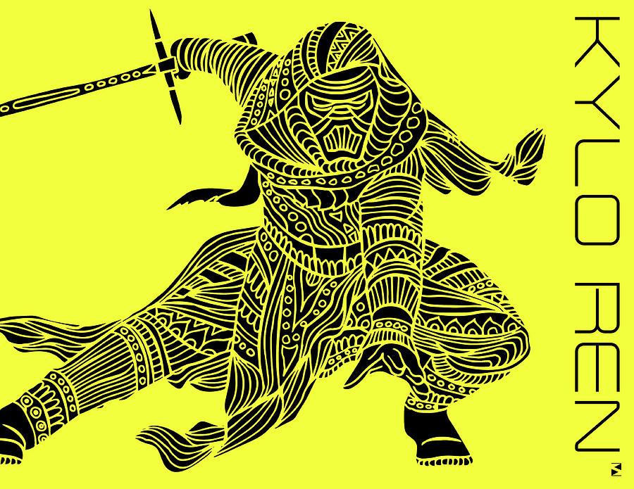 Kylo Ren - Star Wars Art - Yellow Mixed Media