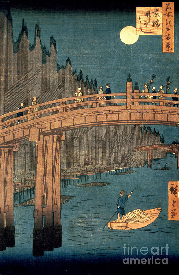 Kyoto Painting - Kyoto Bridge By Moonlight by Hiroshige