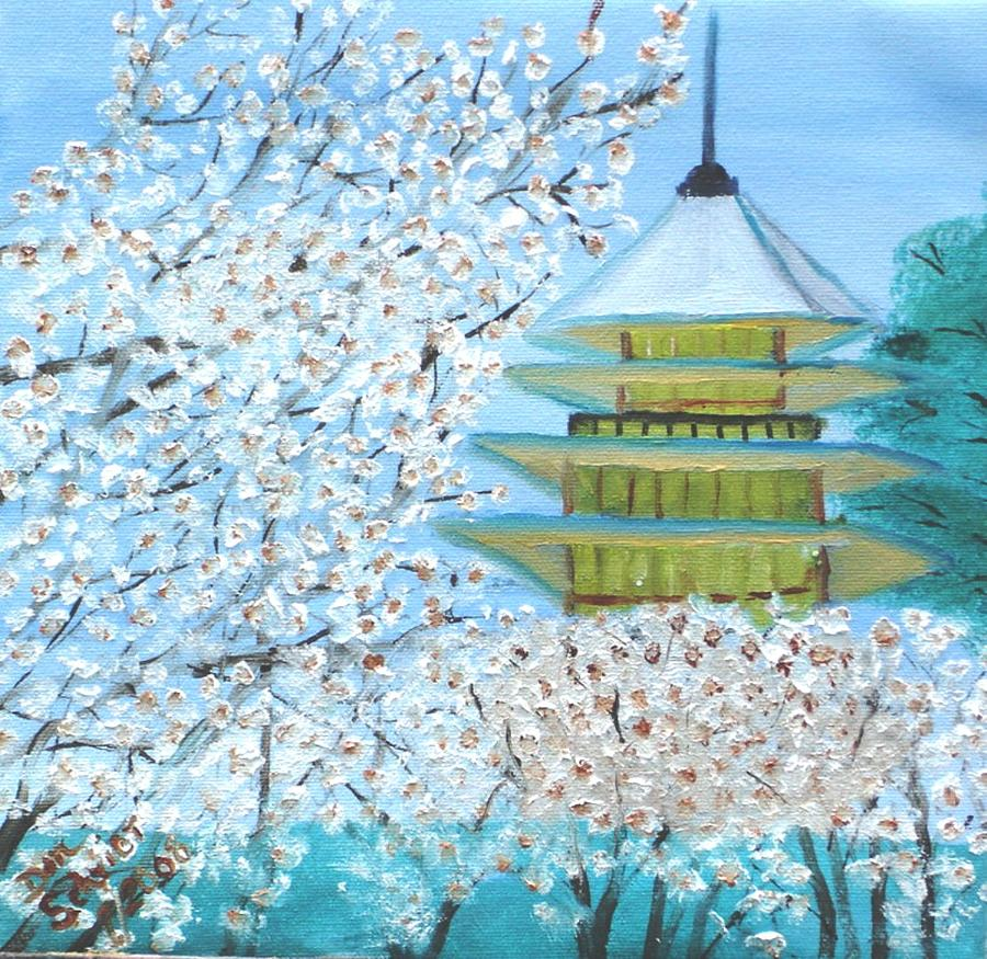 Landscape Painting - Kyoto Temple by Donald Schrier