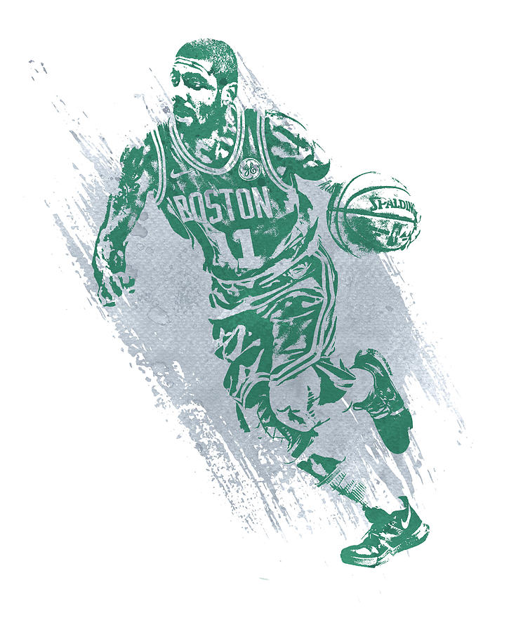 Kyrie Irving Mixed Media - Kyrie Irving Boston Celtics Water Color Art 2 by Joe Hamilton