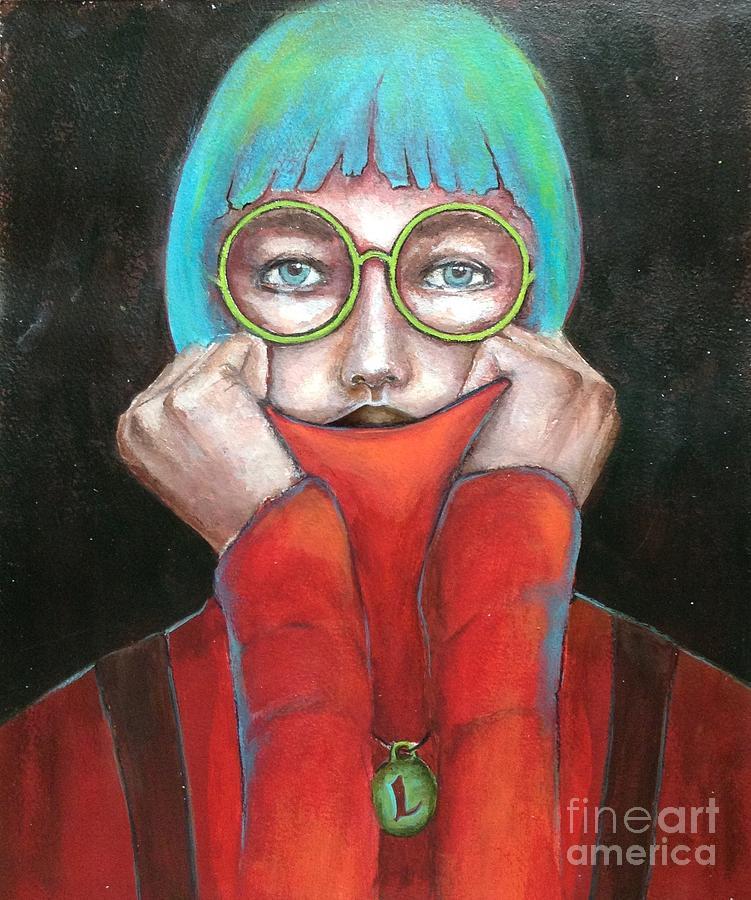 Female Portrait Painting - L is for Love by Pamela Vosseller