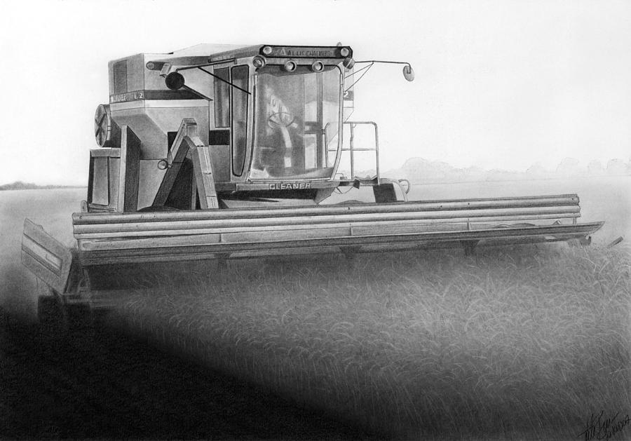 Gleaner Drawing - L2 Blues by Lyle Brown