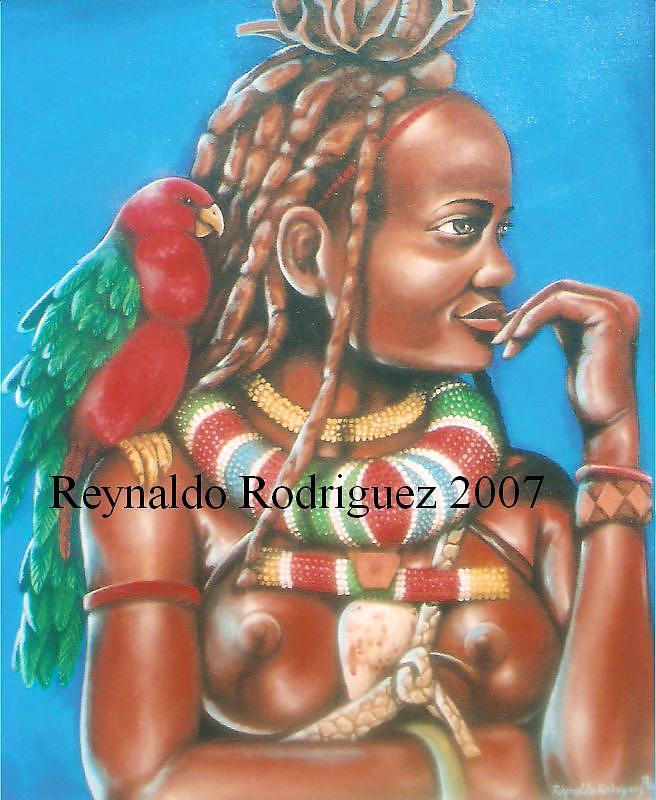 La Africana Y La Cotorra Painting by Reynaldo  Rodriguez