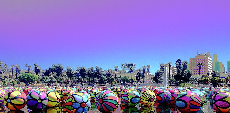 Los Angeles Glows In the Spheres of MacArthur Park by Lorraine Devon Wilke