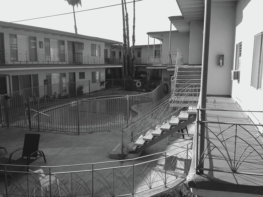 Los Angeles Photograph - LA Apartment Pool - Black and White by Jason Freedman