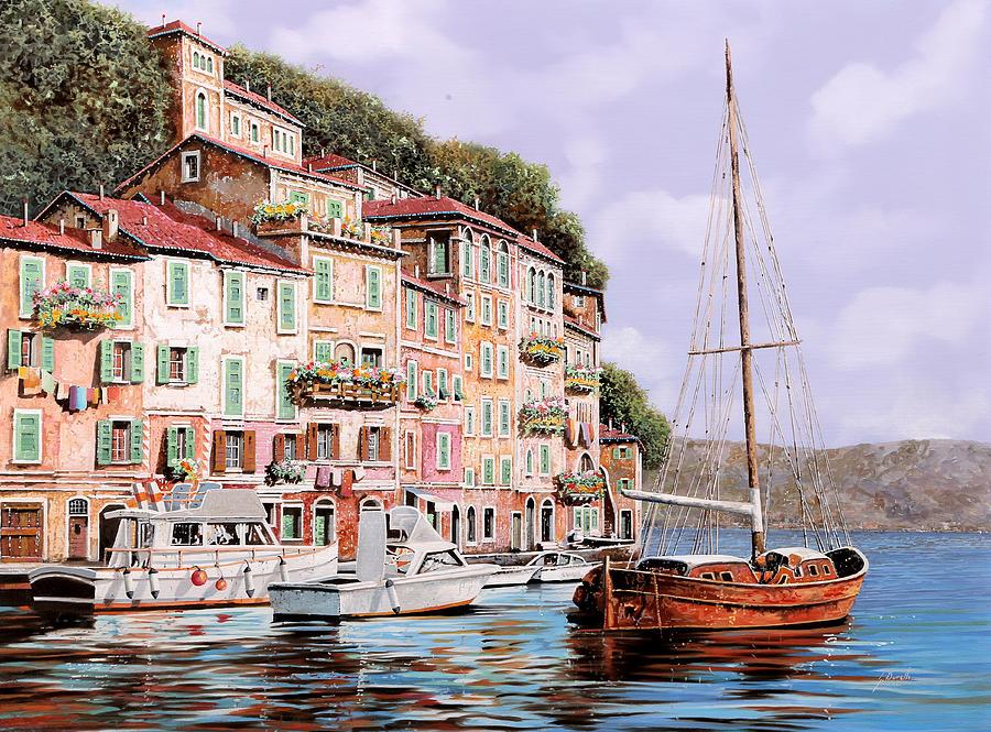 Landscape Painting - La Barca Rossa Alla Calata by Guido Borelli