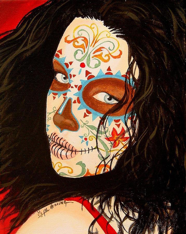 Dia De Los Muertos Painting - La Belleza En El Viento by Al  Molina