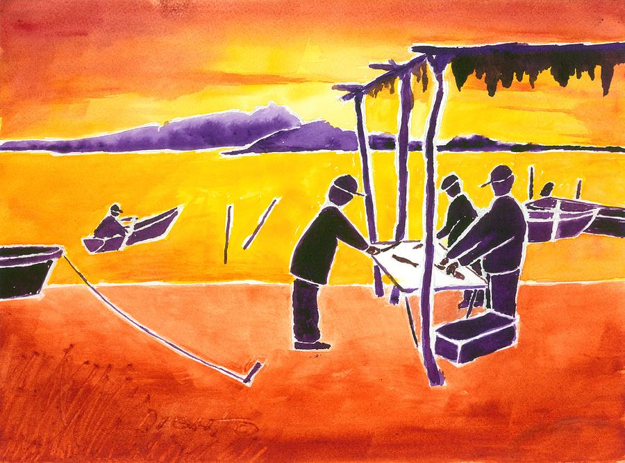 Sun Rise Painting - La Brecha Pescadors by Buster Dight