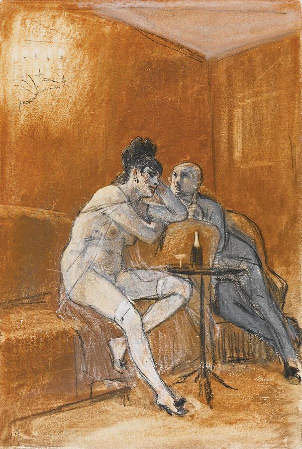 Felicien Rops Drawing - La Chanson du Cherubin by Felicien Rops