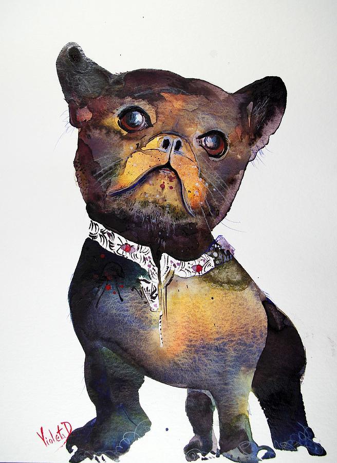 French Bulldog Painting - La Chococo by Violeta Damjanovic-Behrendt