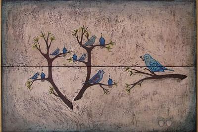 Birds Painting - La Cle by Mauricio Toussaint