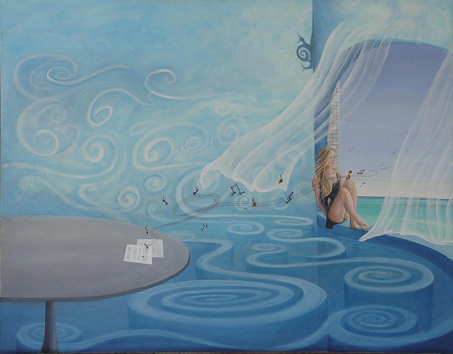 Surrealistic Painting - La Compositora by Angel Ortiz