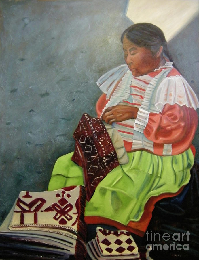 Peasant Painting - La Costurera by Lilibeth Andre