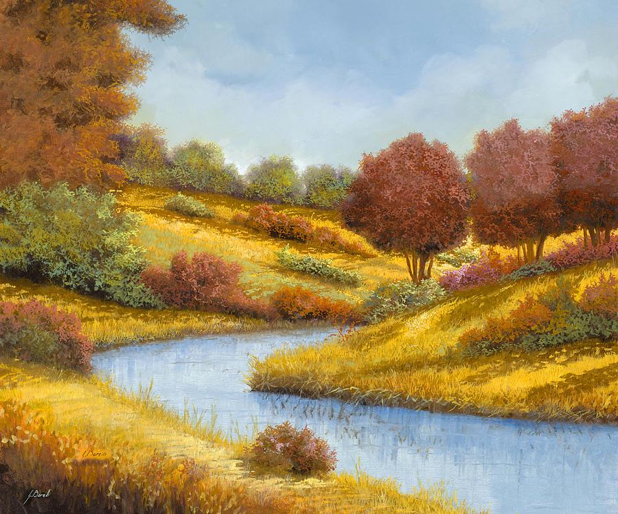 River Painting - La Curva Del Fiume by Guido Borelli