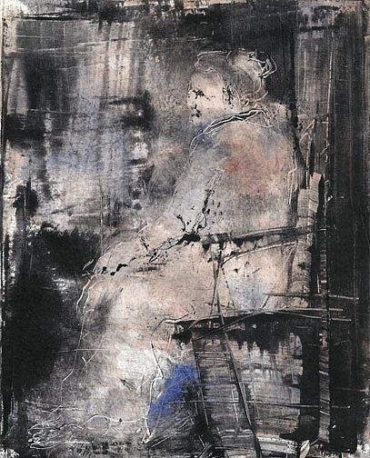 Monotype Drawing - La Dame En Rose by Rochelle Mayer