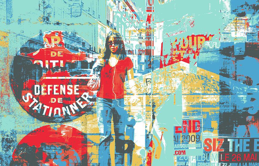 Screenprint Mixed Media - La Defense by Shay Culligan