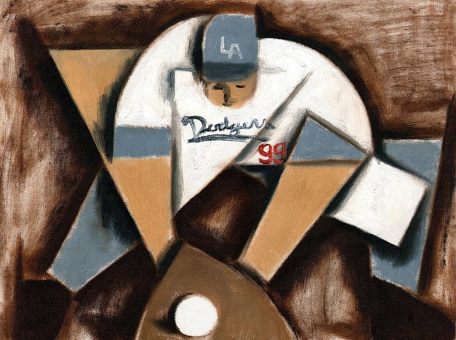 Dodgers Painting - LA Dodgers Cubism Baseball Shortstop Art Print by Tommervik
