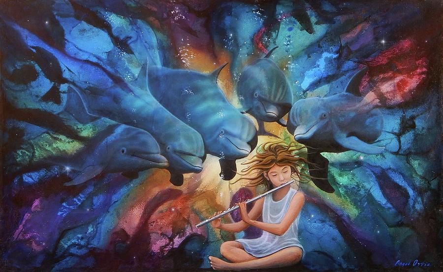 Dolphins Painting - la flautista III by Angel Ortiz