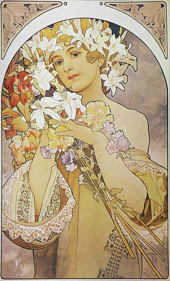 Girl Painting - La Fleurflowers by Alphonse Mucha