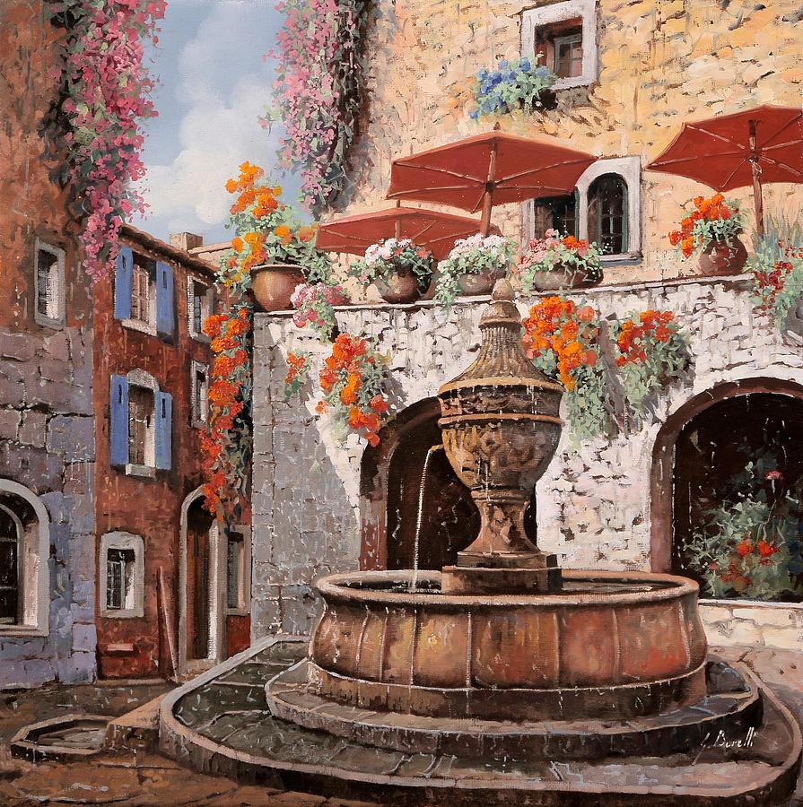 St Paul Painting - la fontana a St Paul de Vence by Guido Borelli