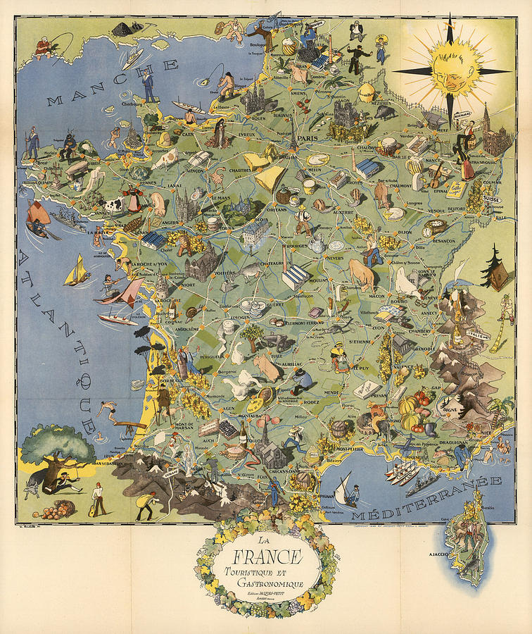 La France Touristique Et Gastronomique - Pictorial Illustrated Map Of France -cartography Mixed Media