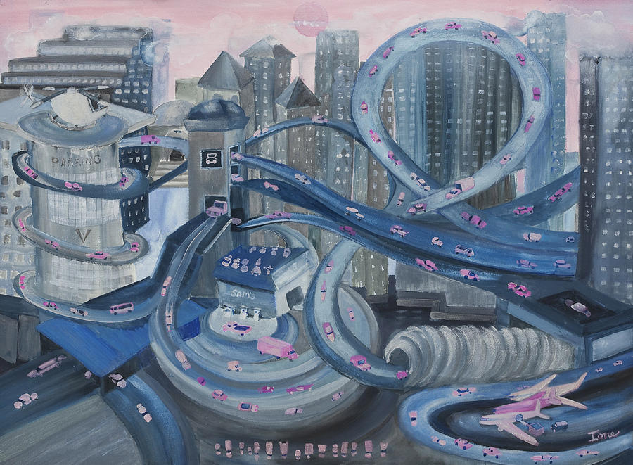 Ione Painting - La Freeway by Ione Citrin