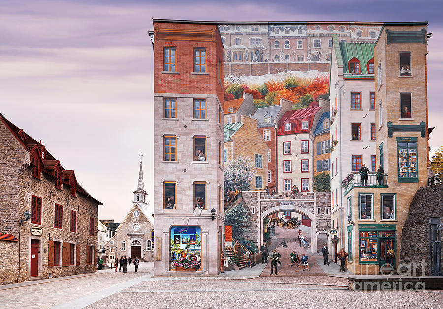 La fresque des quebecois wall mural in old quebec city for Mural quebec city