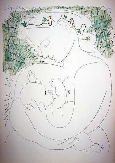La Grande Maternite Painting by Pablo Picasso