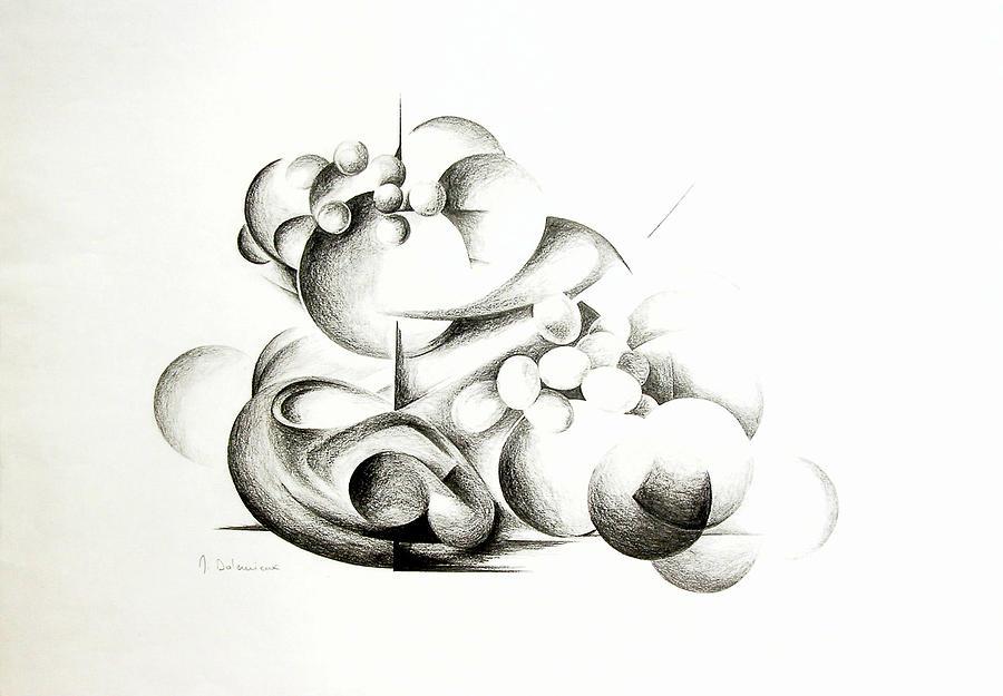 Abstract Drawing - La guerre des bulles by Muriel Dolemieux