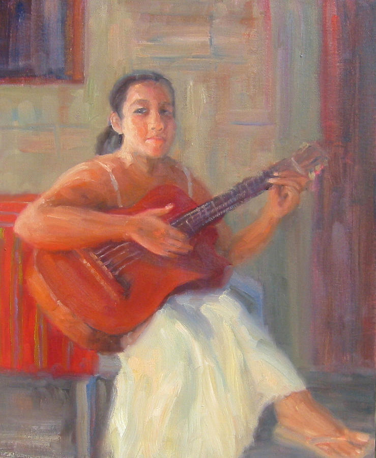 Honduras Painting - La Guitarista by Bunny Oliver