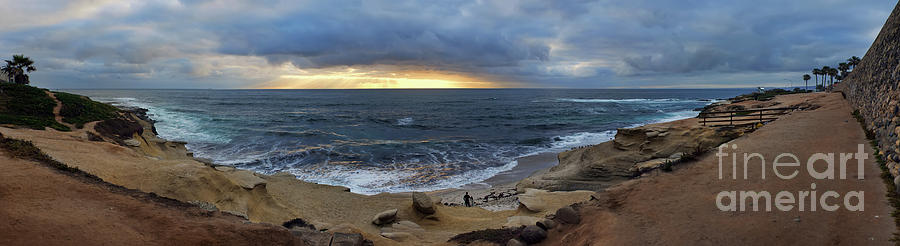 La Jolla Shores Beach Panorama by Eddie Yerkish