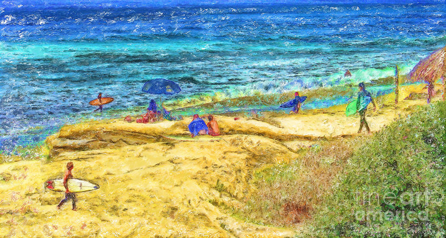 la Jolla Surfers Mixed Media - La Jolla Surfing by Marilyn Sholin
