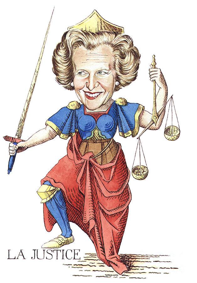 Margaret Thatcher Scales Justice Tarot Caricature Sword Painting - La Justice by Debbie  Diamond