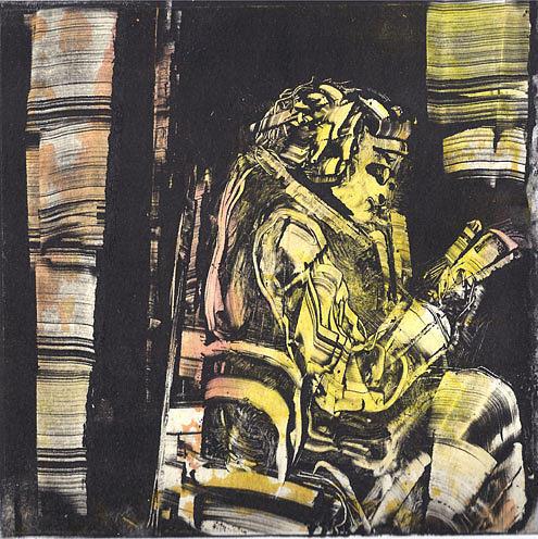 Monotype Drawing - La Liseuse by Rochelle Mayer