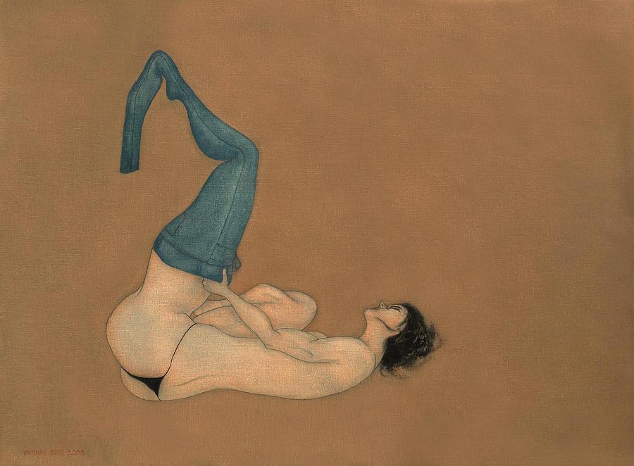 Female Nude Painting - La Lutte by Antonio Ortiz