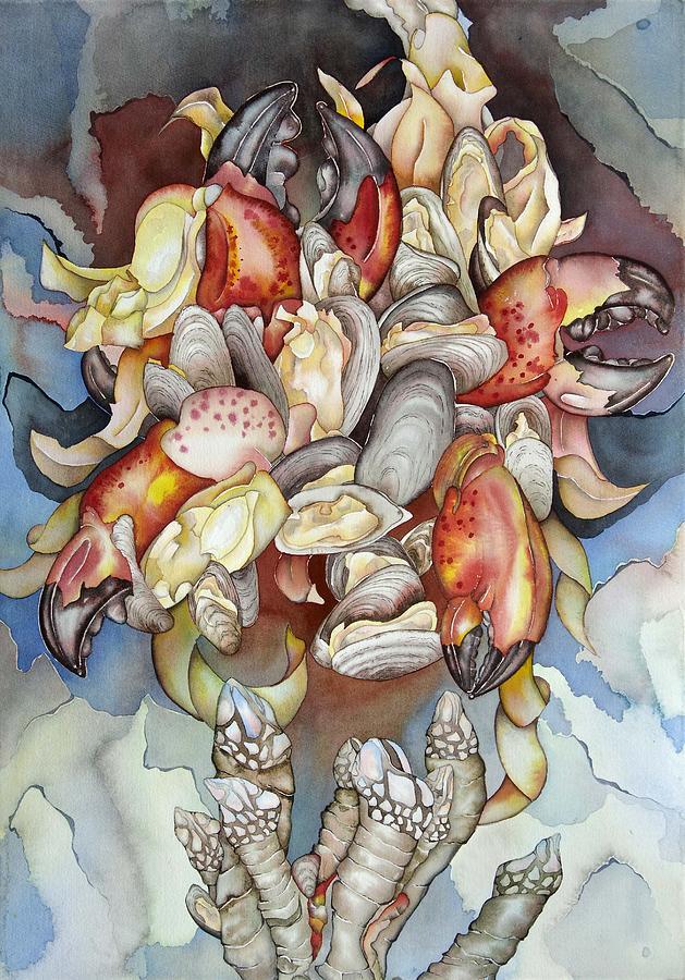 Sealife Painting - La Mer En Rouge by Liduine Bekman