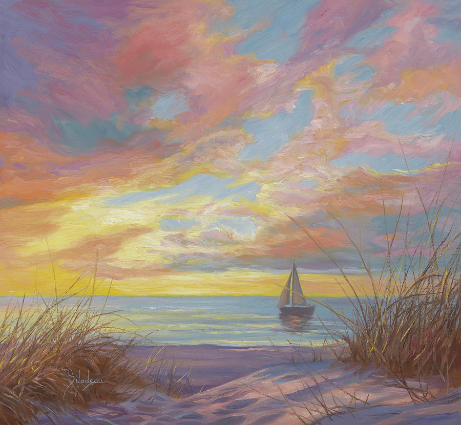 Beach Painting - La Mer by Lucie Bilodeau