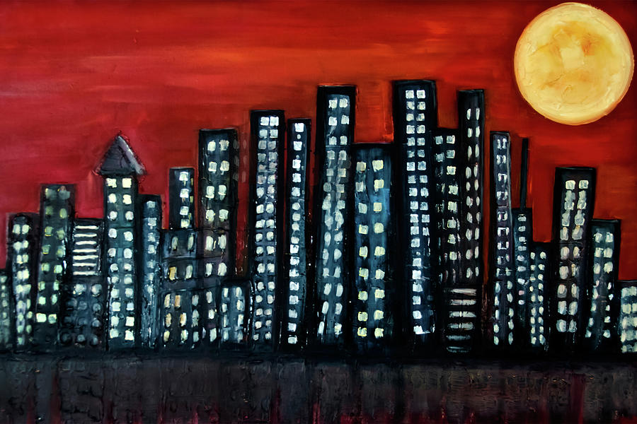 Oil On Canvas Painting - L.a. Moon by Rolly Mouchaty