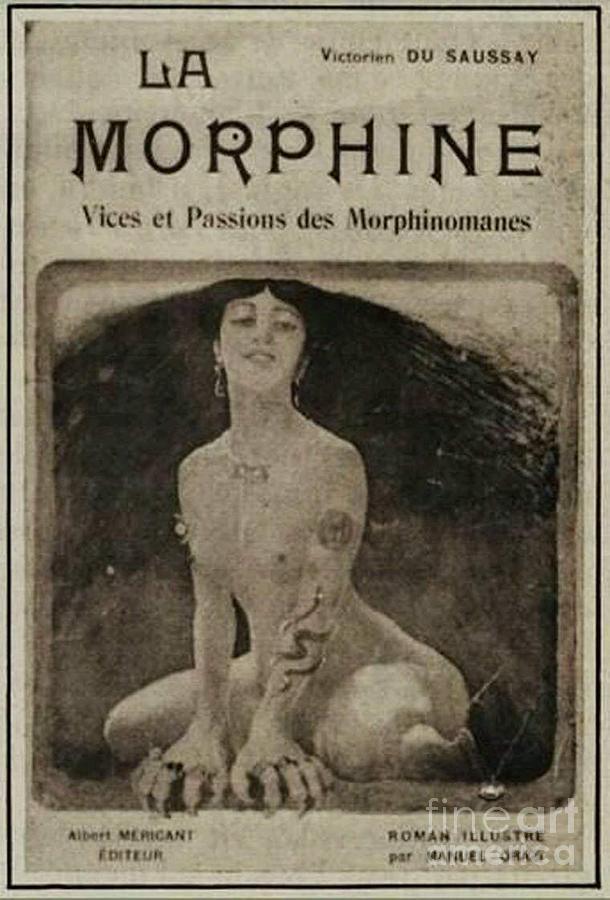 Advert Mixed Media - La Morphine Vintage Pharmaceutical Apothecary Poster Advert by OrganicBotanics