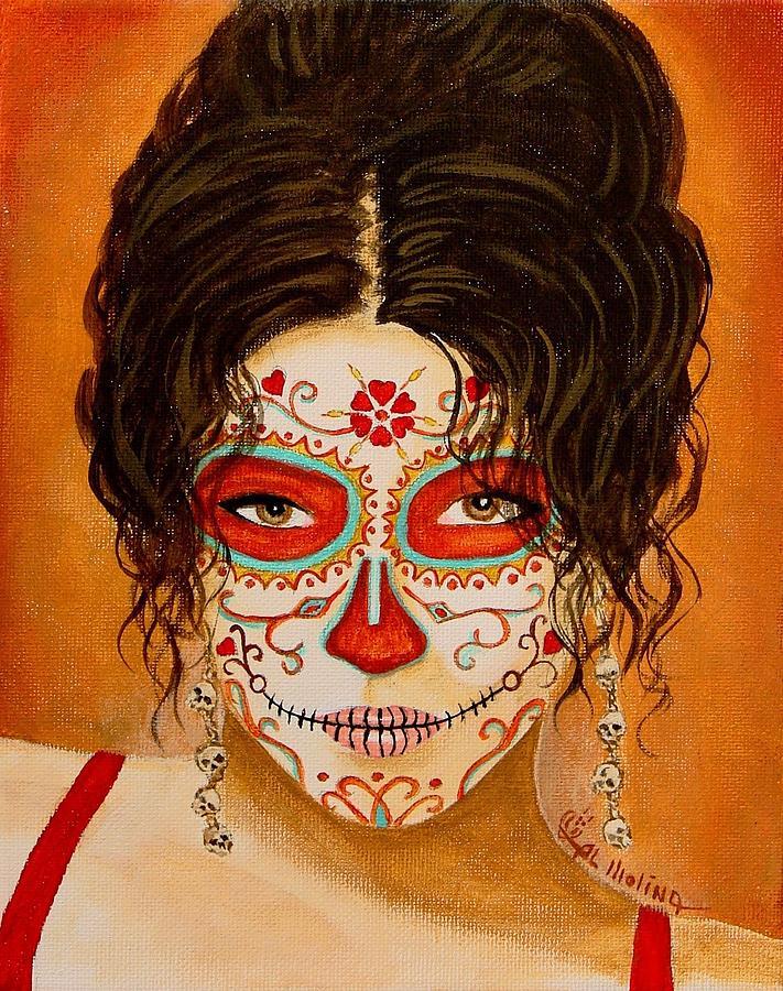 Dia De Los Muertos Painting - La Muerte Elegante by Al  Molina