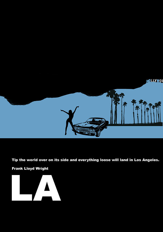 Los Angeles Digital Art - La Night Poster by Naxart Studio