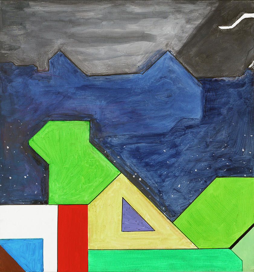 Abstract Painting - La Notte Sopra La Citta Verde - Part Iv by Willy Wiedmann