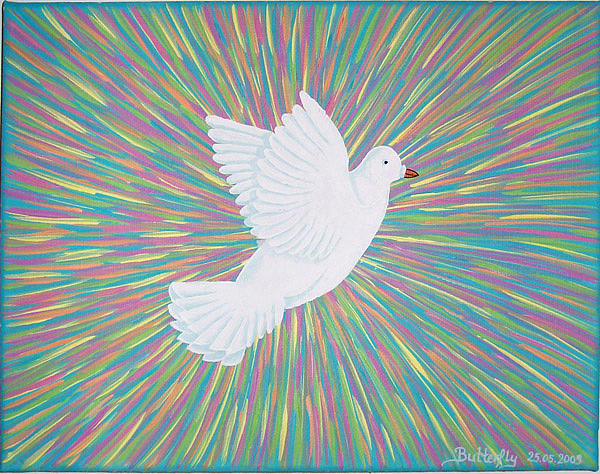Dove Painting - La Palomita by Emmely  Hillewaert