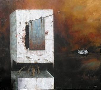 Boat Painting - La Puerta by Eduardo Stein