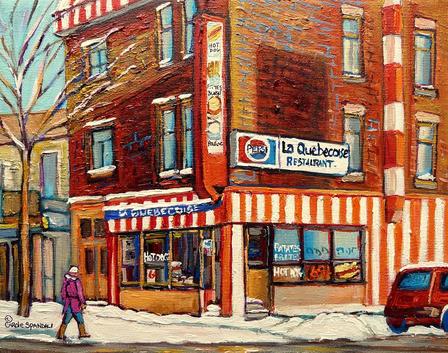 La Quebecoise Restaurant Deli Painting - La Quebecoise Restaurant Deli by Carole Spandau